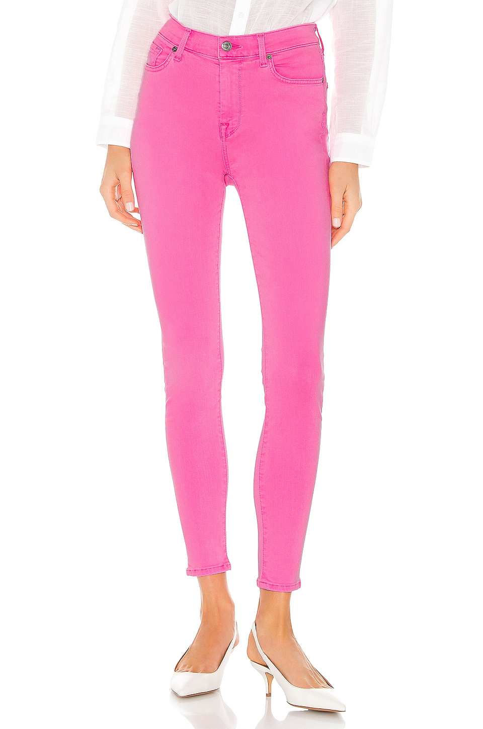 7 For All Mankind The High Waisted Ankle Skinny in Neon Pink
