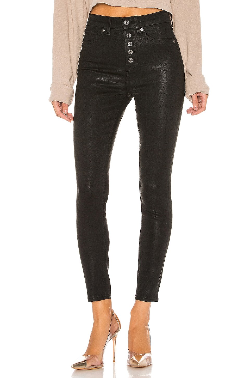 7 For All Mankind B(Air) The High Waist Ankle Skinny en Black Coating