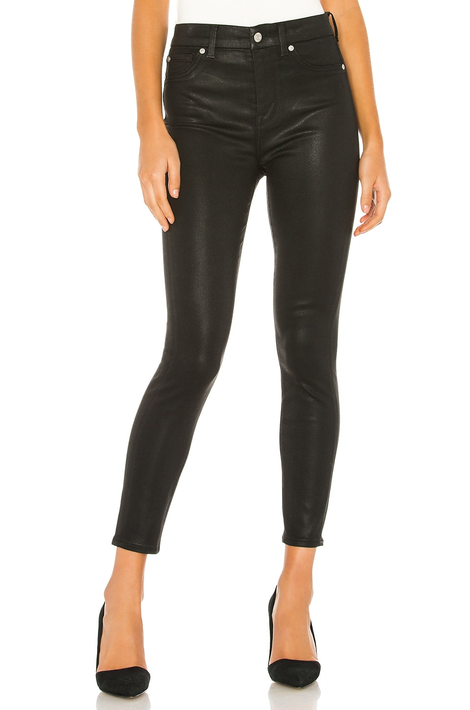 7 For All Mankind B(Air) The High Waist Ankle Skinny in Black Coating