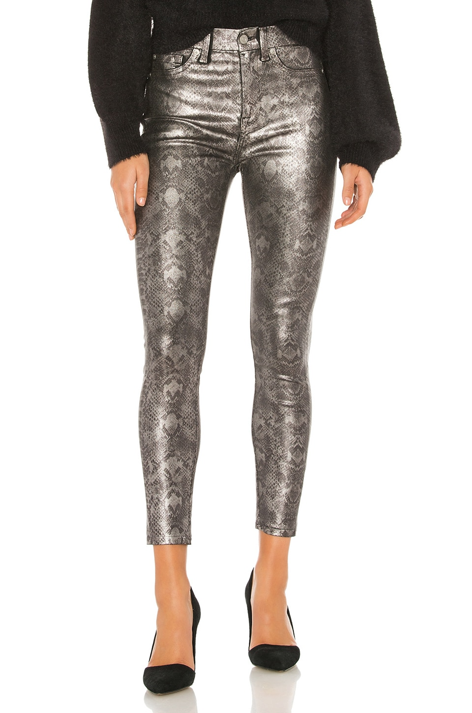 7 For All Mankind The High Waist Ankle Skinny in Coated Pewter Python