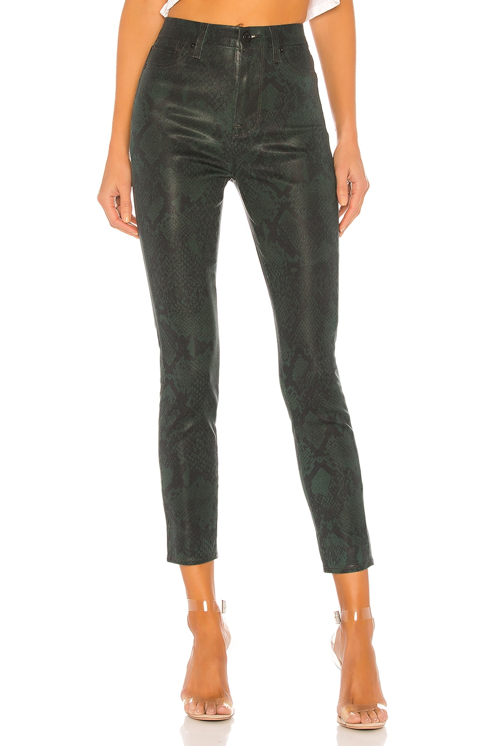 7 For All Mankind Coated High Waist Ankle Skinny in Green Python