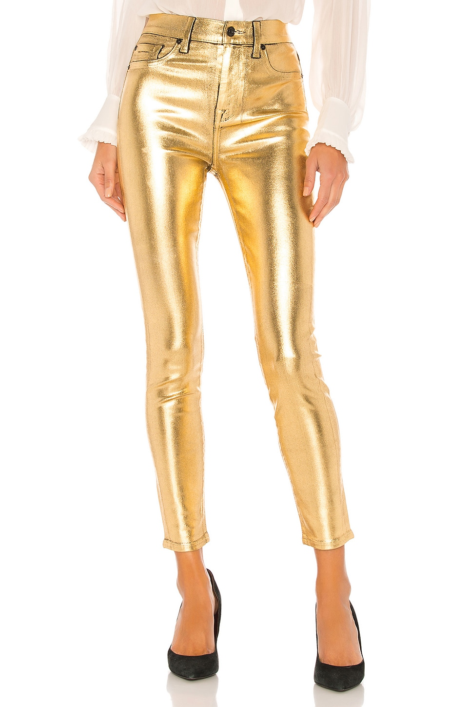 7 For All Mankind Coated High Waist Ankle Skinny in Liquid Gold