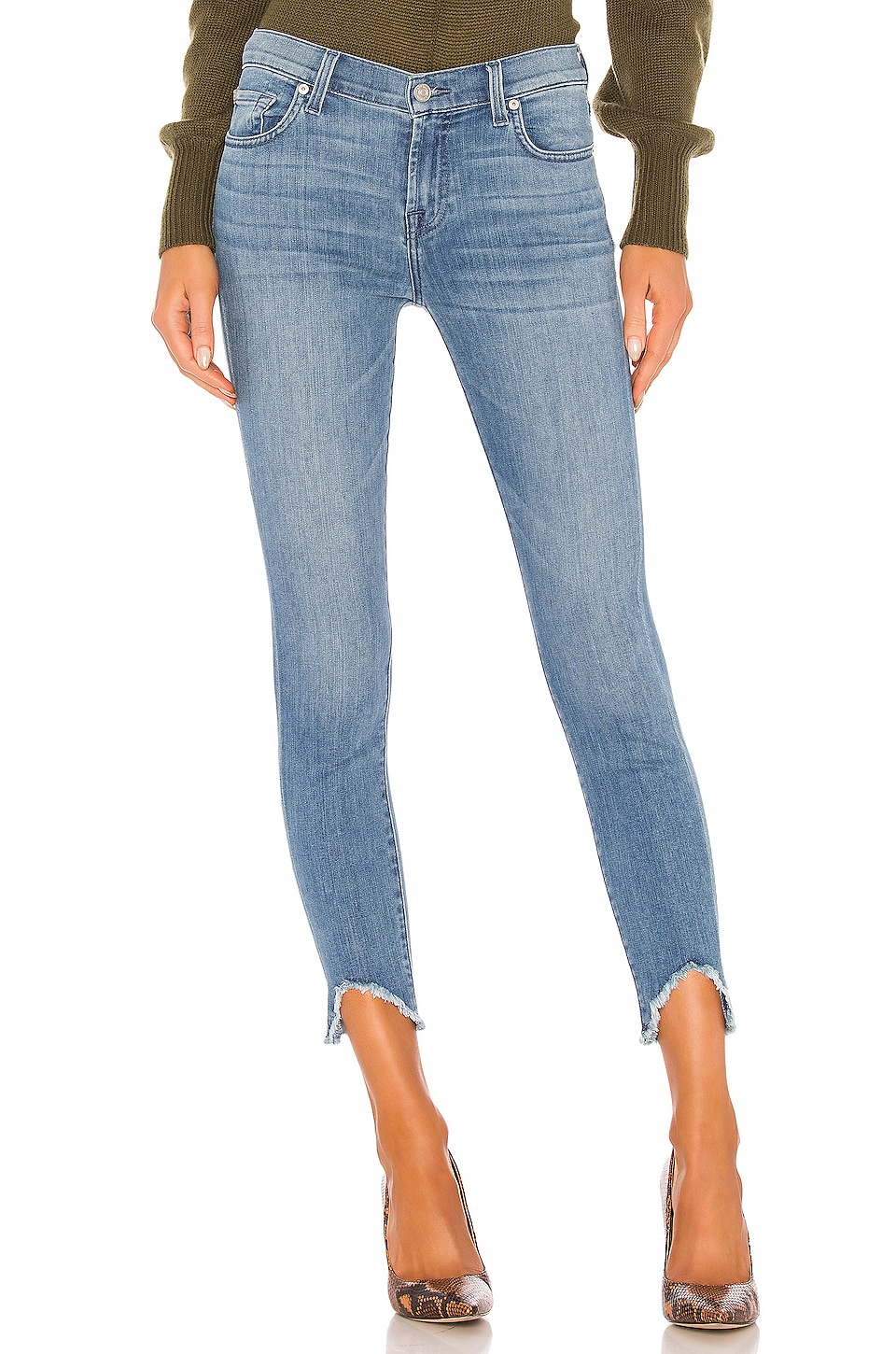 7 For All Mankind The Ankle Skinny Wave Hem in Alta Blue