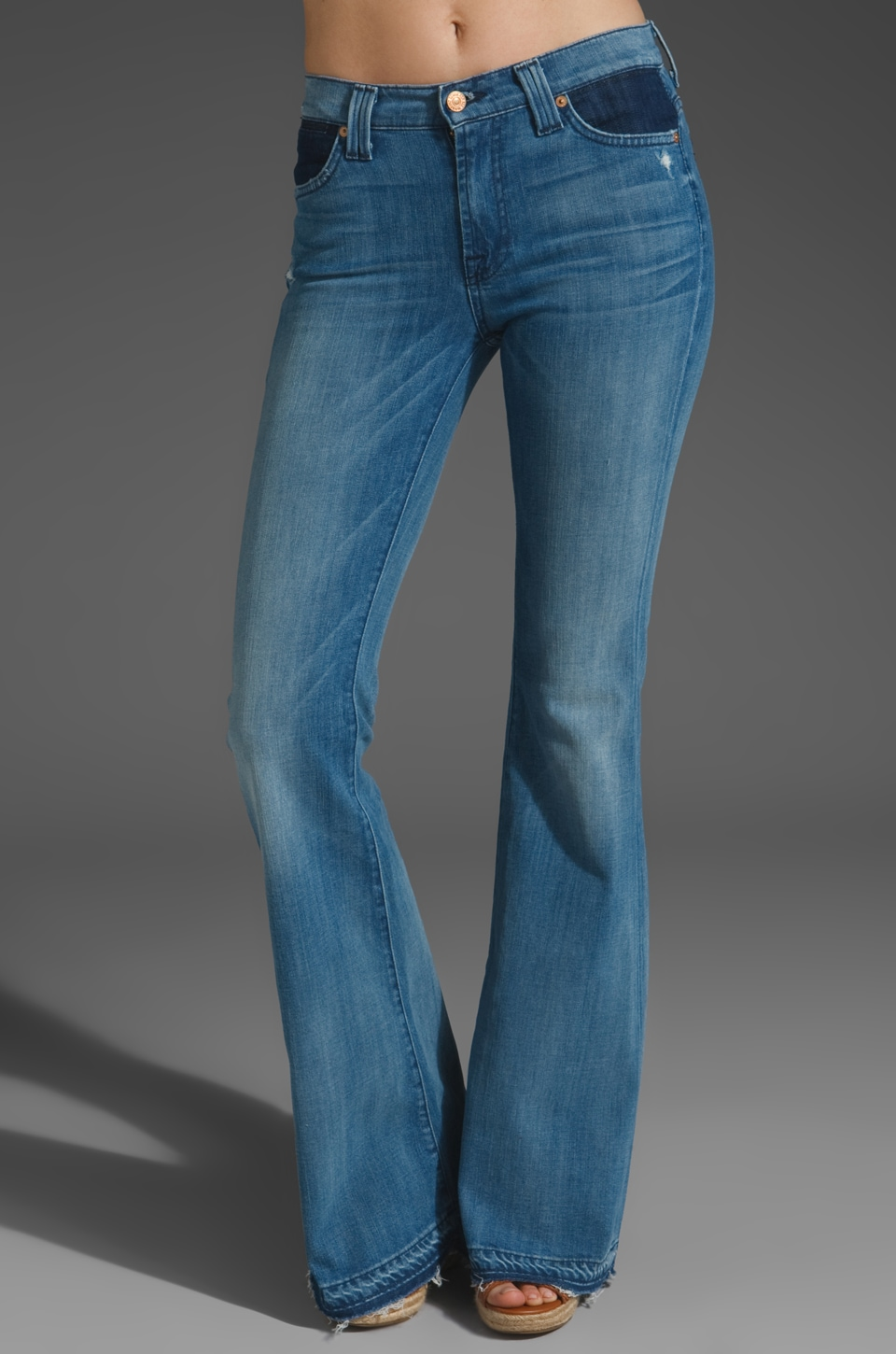 7 For All Mankind Colorblock Flare in Contrast Block