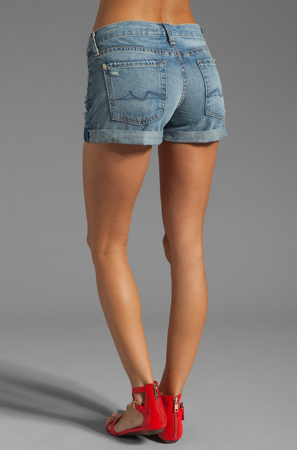 7 For All Mankind Josefina Roll Up Short in Light Destroyed
