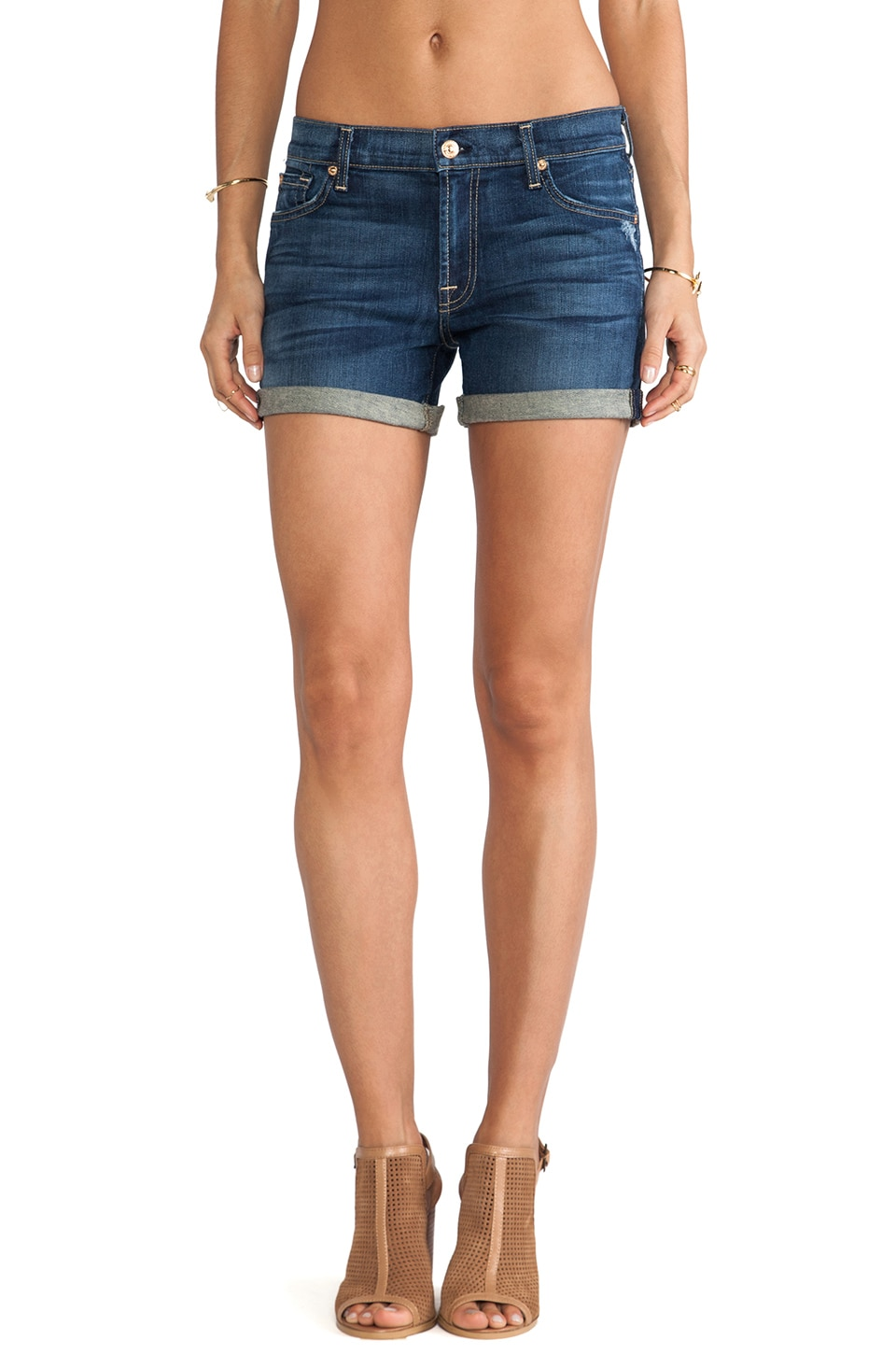 7 For All Mankind Mid Roll Up Short in Authentic True Blue