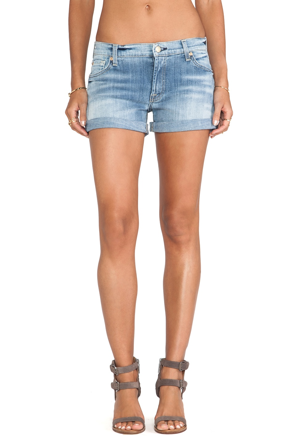 7 For All Mankind Roll up Short in Slim Illusion Faded Blue