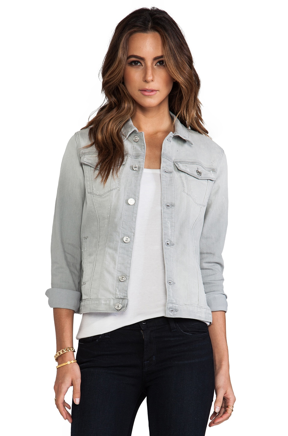 7 For All Mankind Denim Jacket in Light Grey Destroy