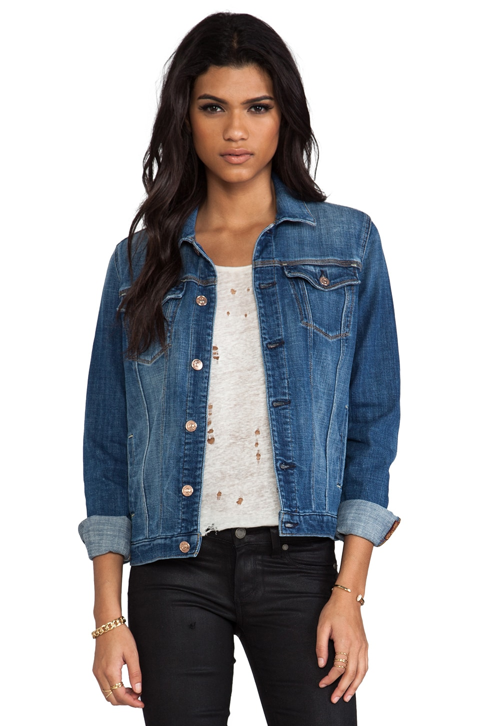 7 For All Mankind Classic Denim Jacket in Bright Light Broken Twill