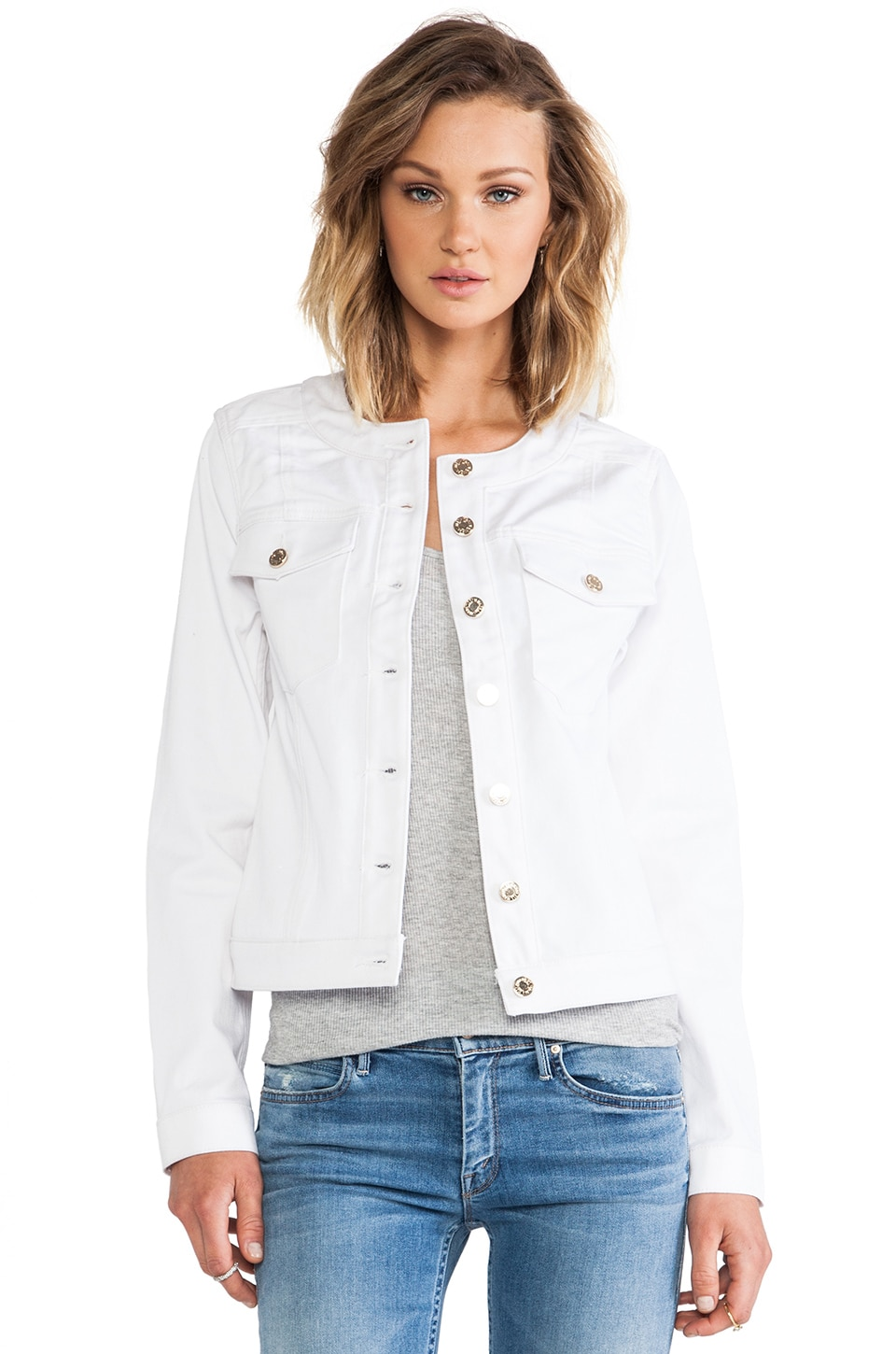 7 For All Mankind Button Front Jacket in White Fashion