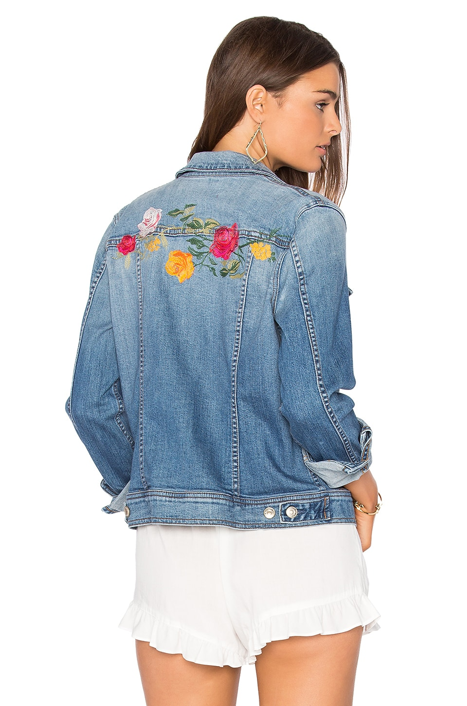 7 For All Mankind Trucker Jacket in Rose Garden Embroidered