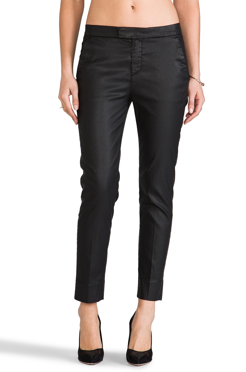 7 For All Mankind Slim Chino en Noir Enduit