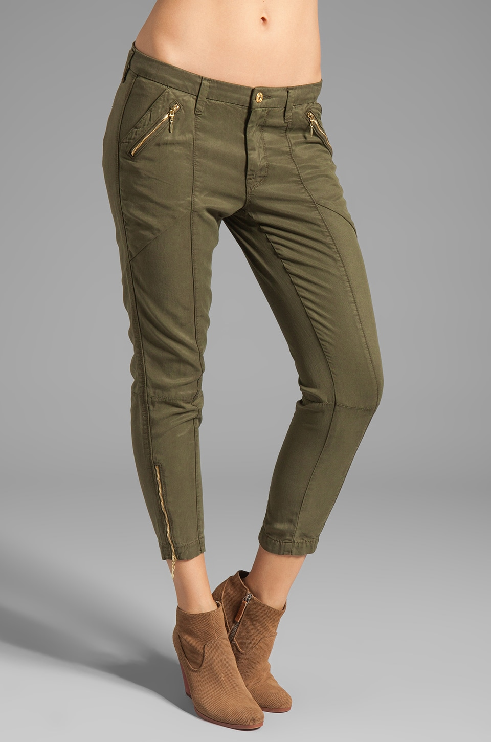 7 For All Mankind Zip Chino in Olive Drapey Twill