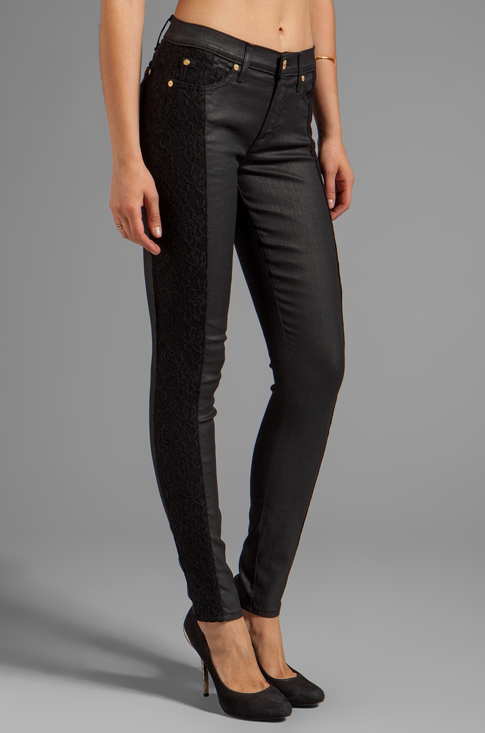 7 For All Mankind Lace Pieced Skinny in Jeather Mixing