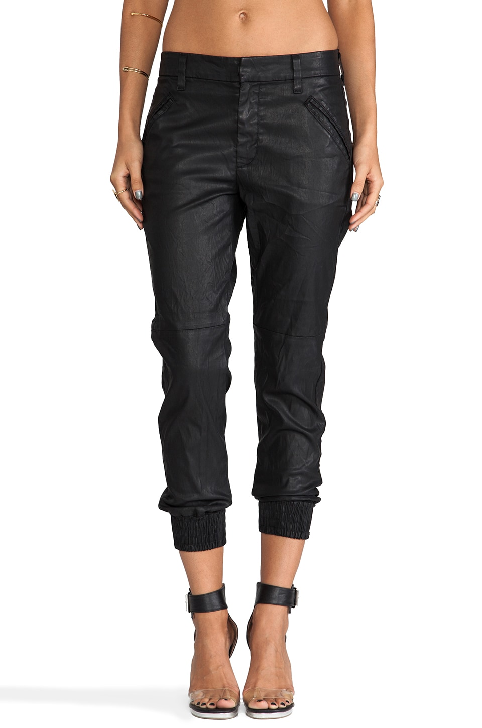 7 For All Mankind Sportif Chino in Black Coated Twill