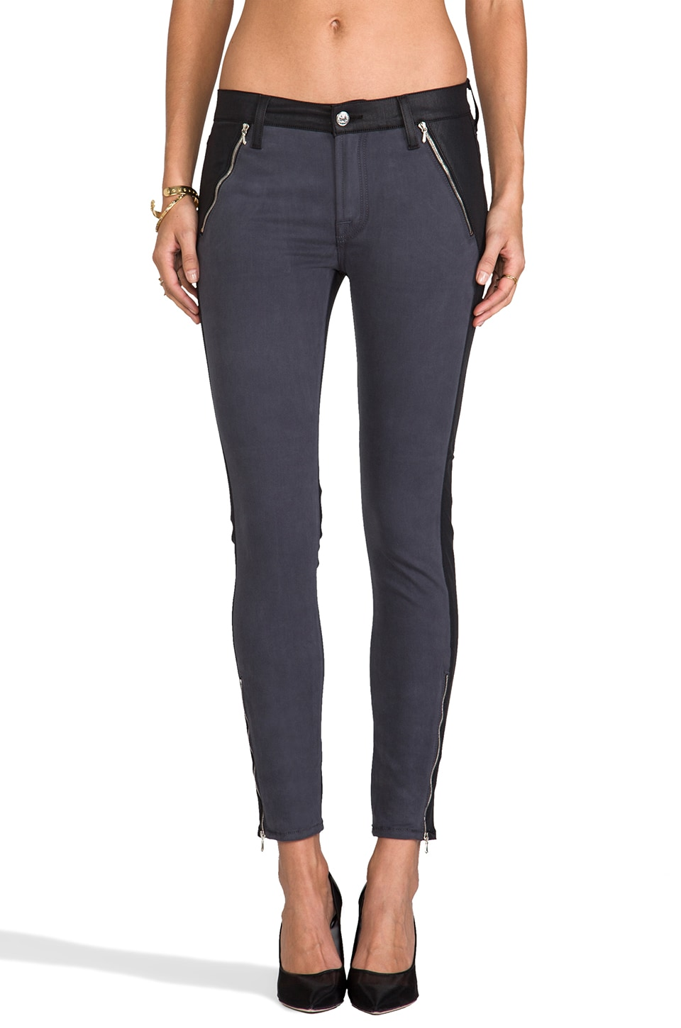 7 For All Mankind Fashion Zipped Skinny in Grey Sateen