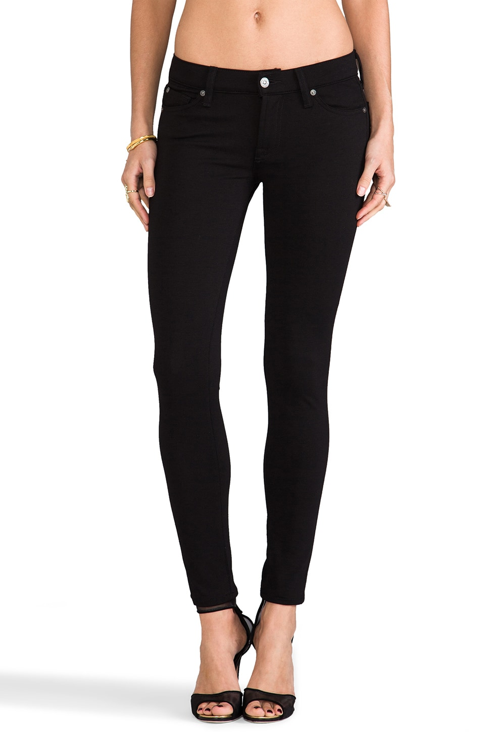 7 For All Mankind The Double Knit Skinny in Black