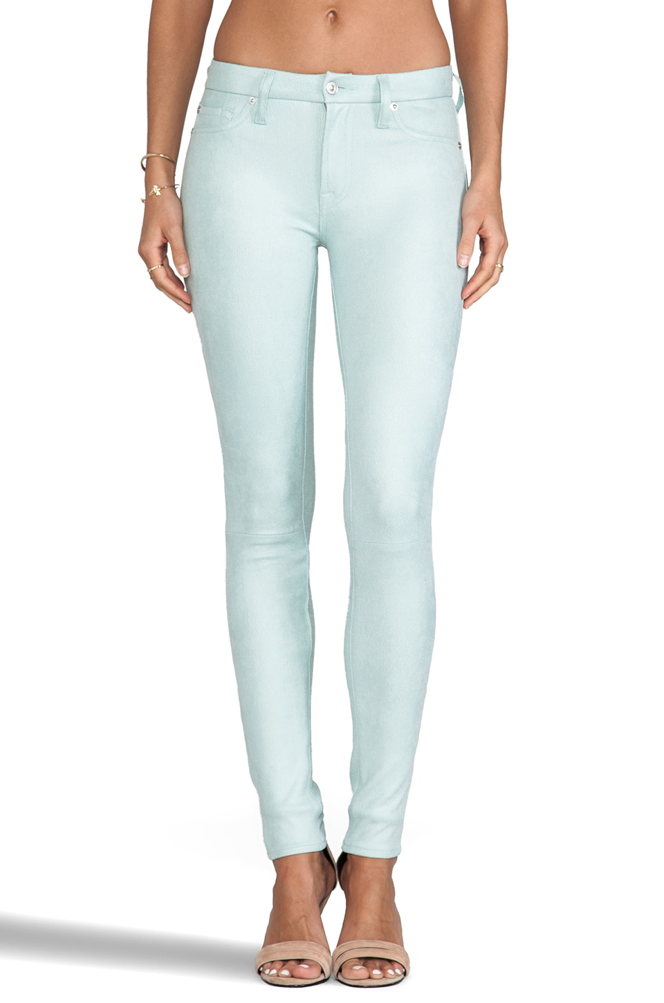 7 For All Mankind Knee Seam Skinny in Mint Crackle