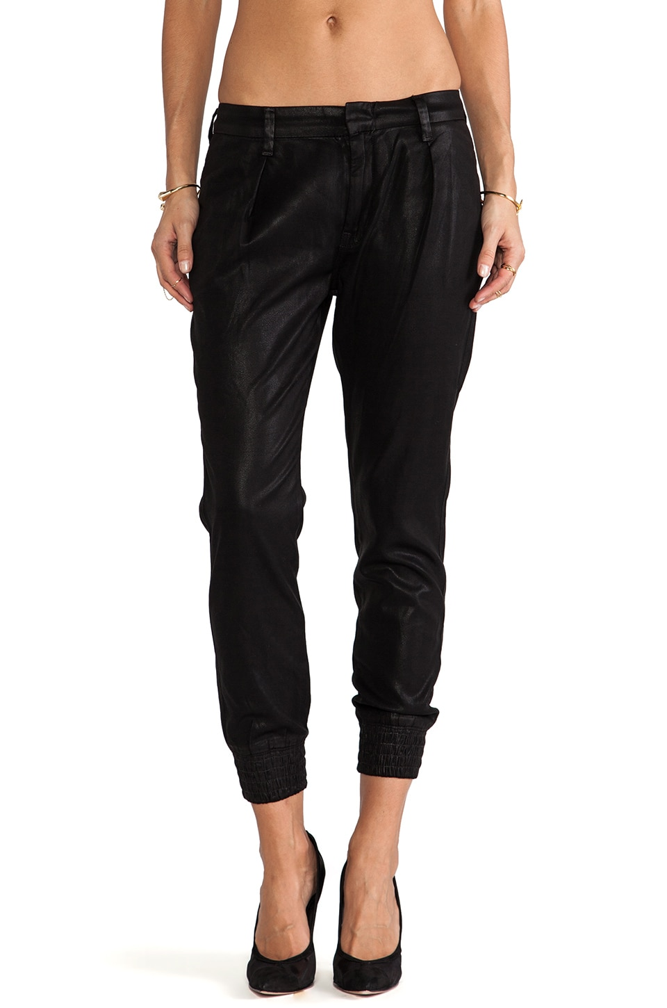 7 For All Mankind Drapey Pant w/ Smocked Hem in Black
