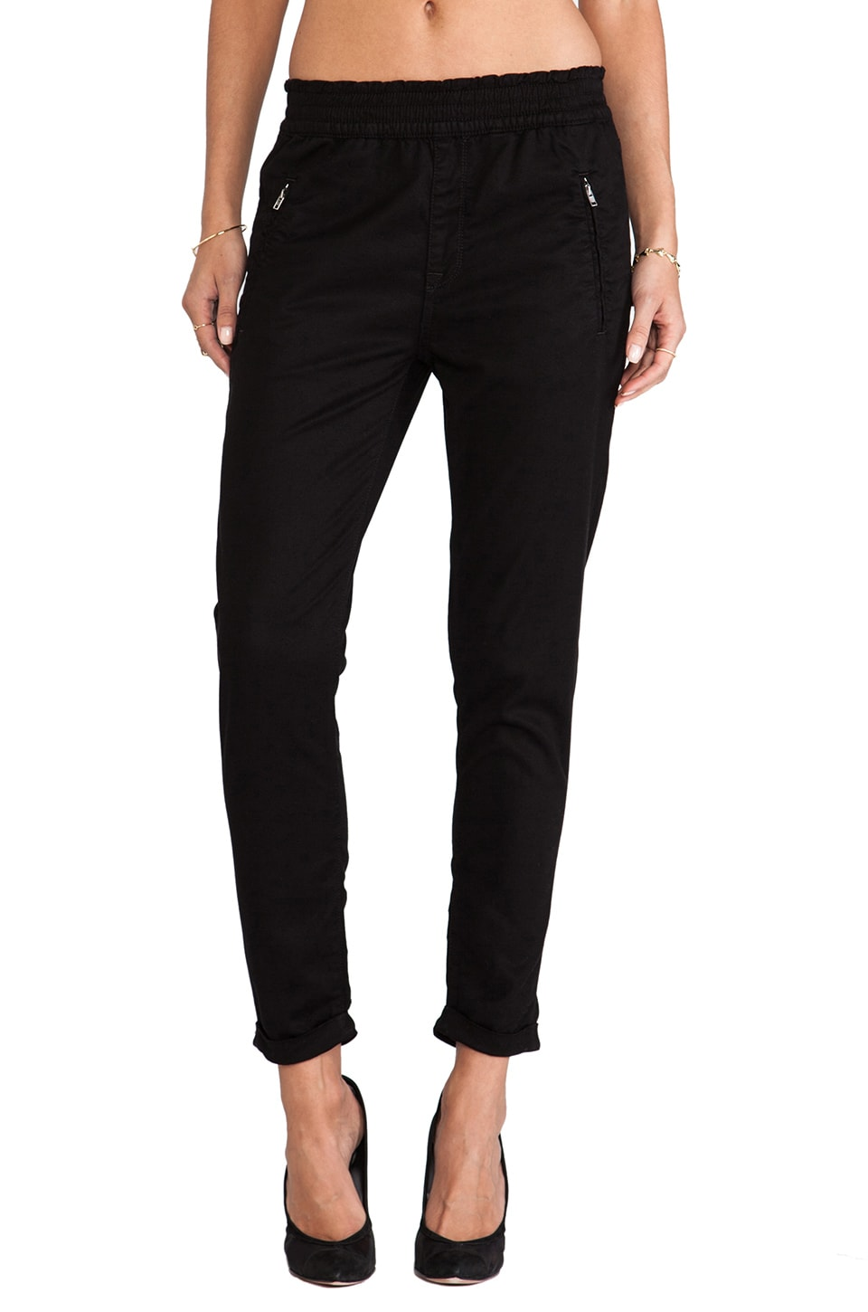 7 For All Mankind Soft Pant in Black Enzyme Twill