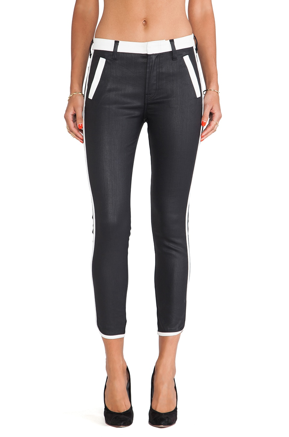 7 For All Mankind Sportif Crop Pant in Black & White