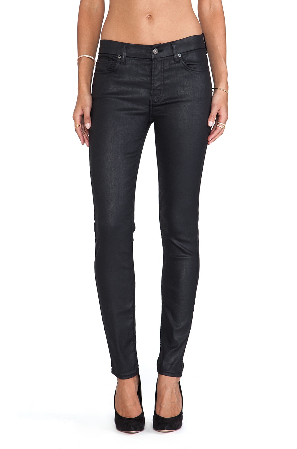 7 For All Mankind Mid Rise Ankle Skinny Jeather in Black