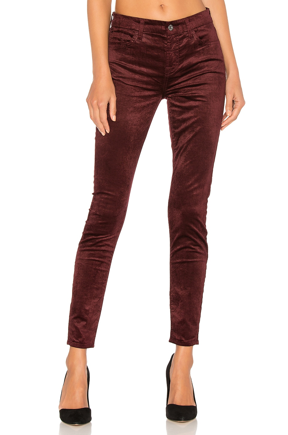 7 For All Mankind Burgundy Ankle Skinny