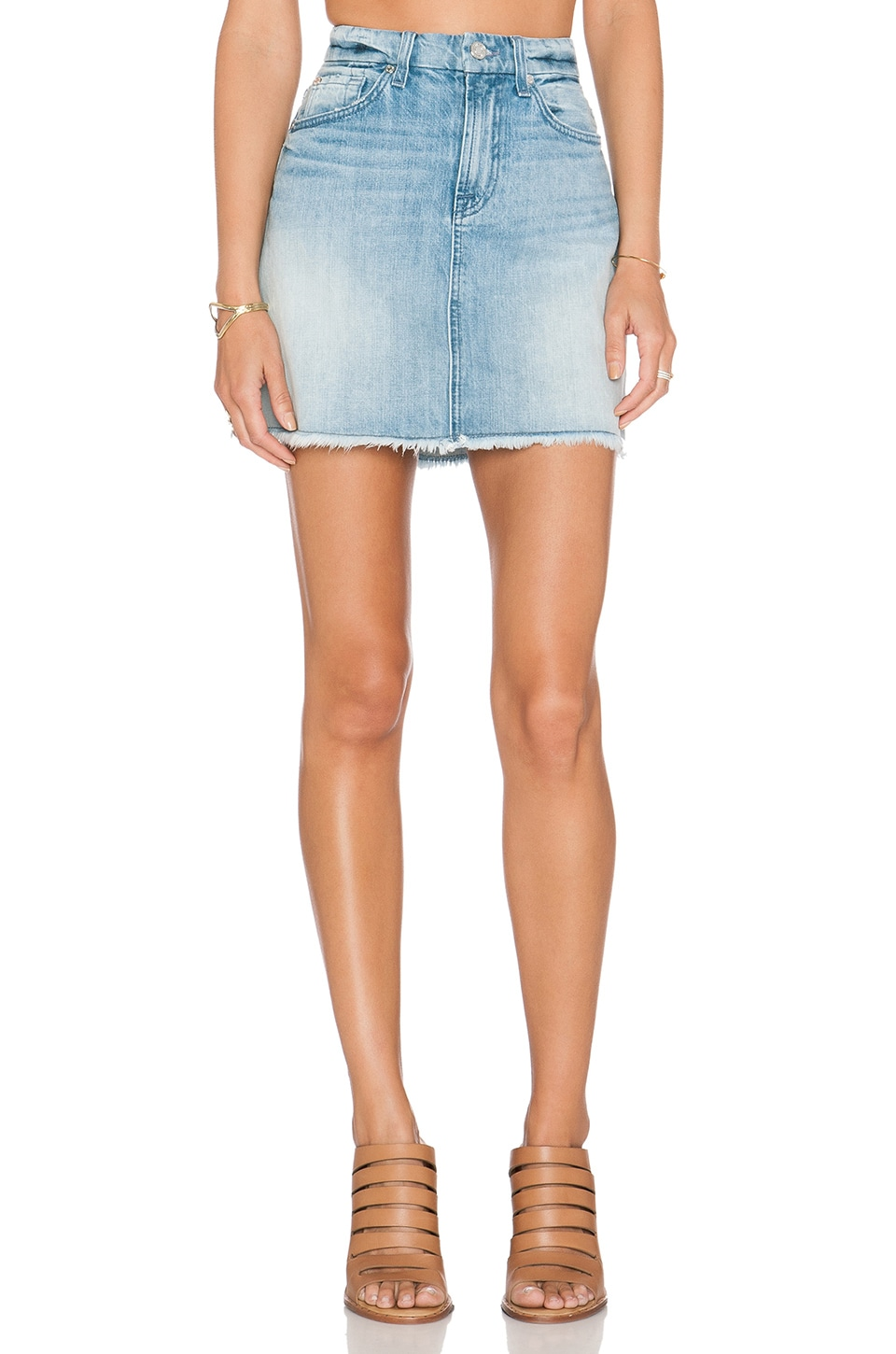 7 For All Mankind A Line Mini Skirt in Aura Blue Heritage