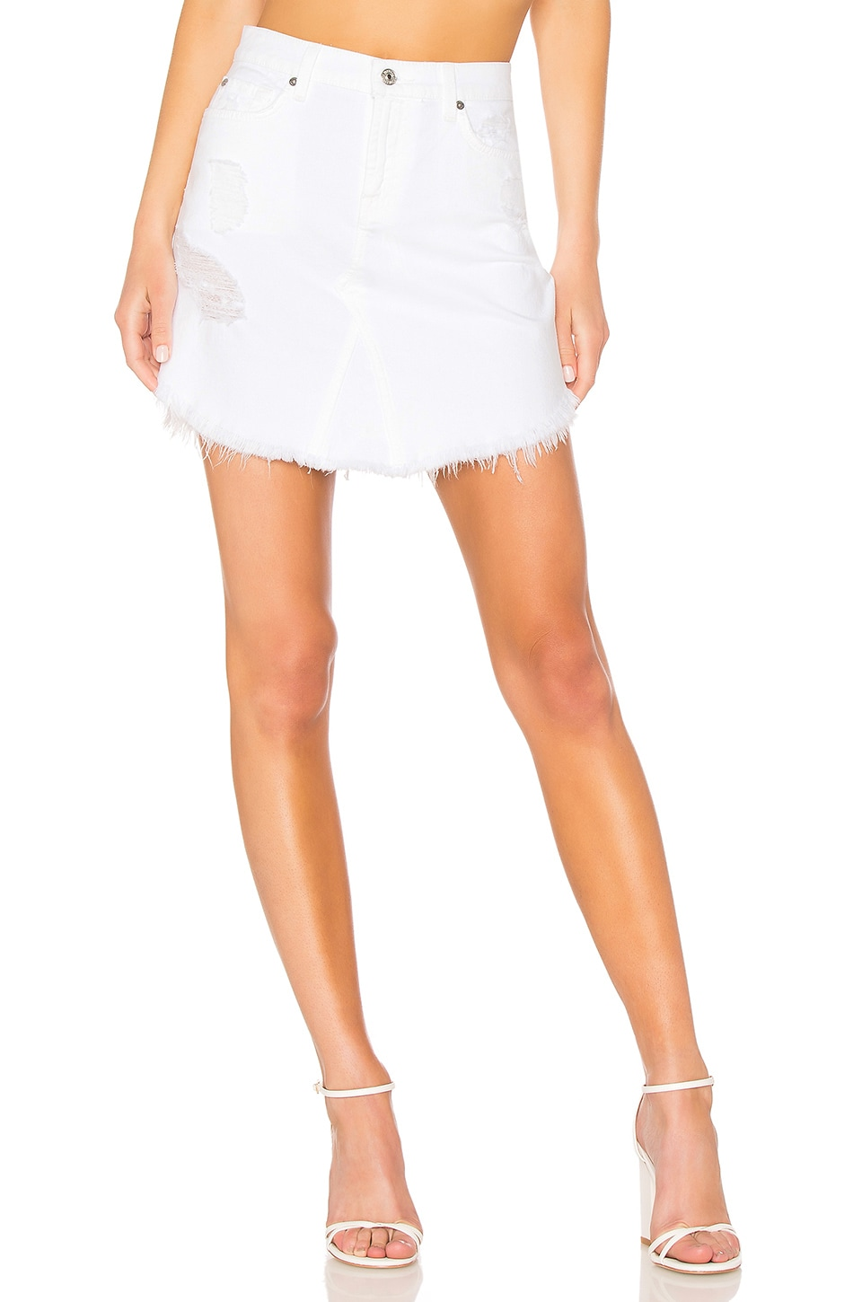 41560ec780a5 7 For All Mankind Destroyed Denim Skirt In White Fashion 3 | ModeSens