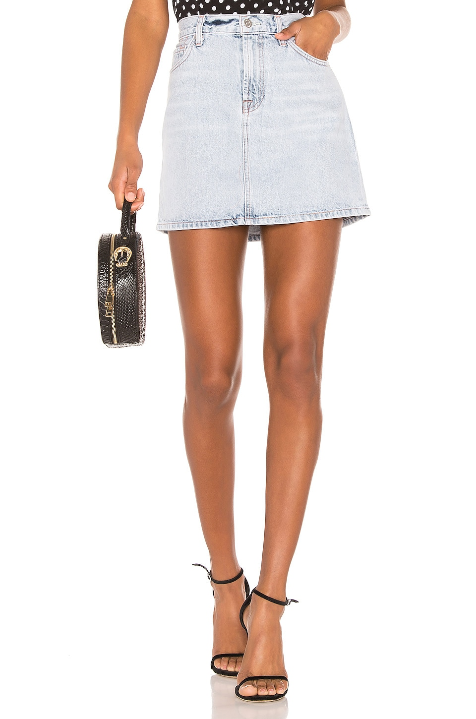 7 For All Mankind Mini Skirt in Cloud Blue