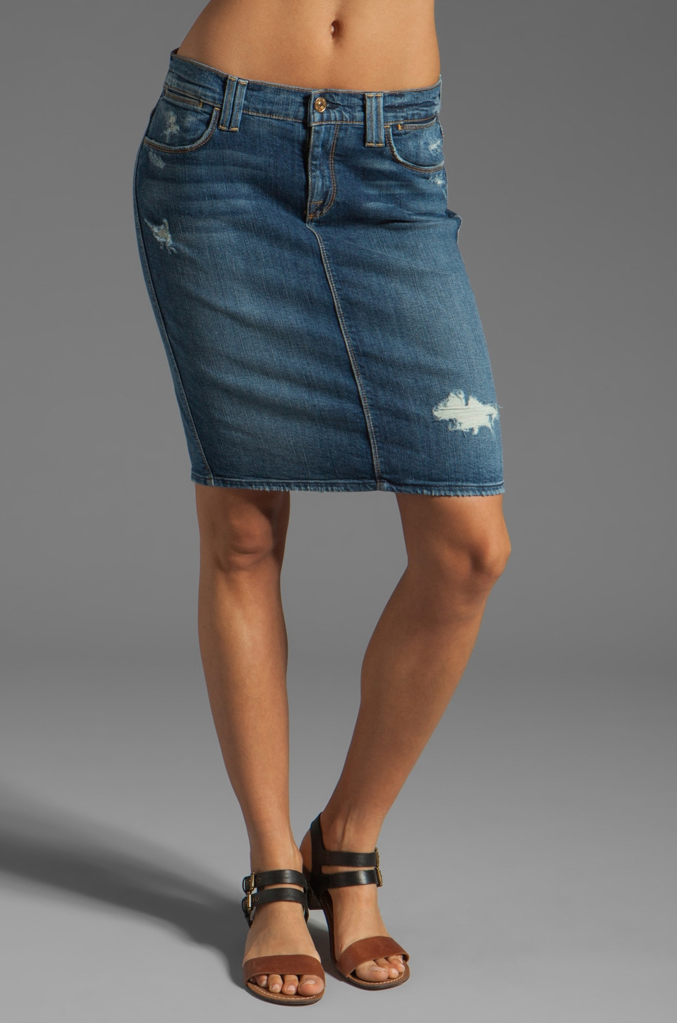 7 For All Mankind Pencil Skirt in Light Blue Distressed 3