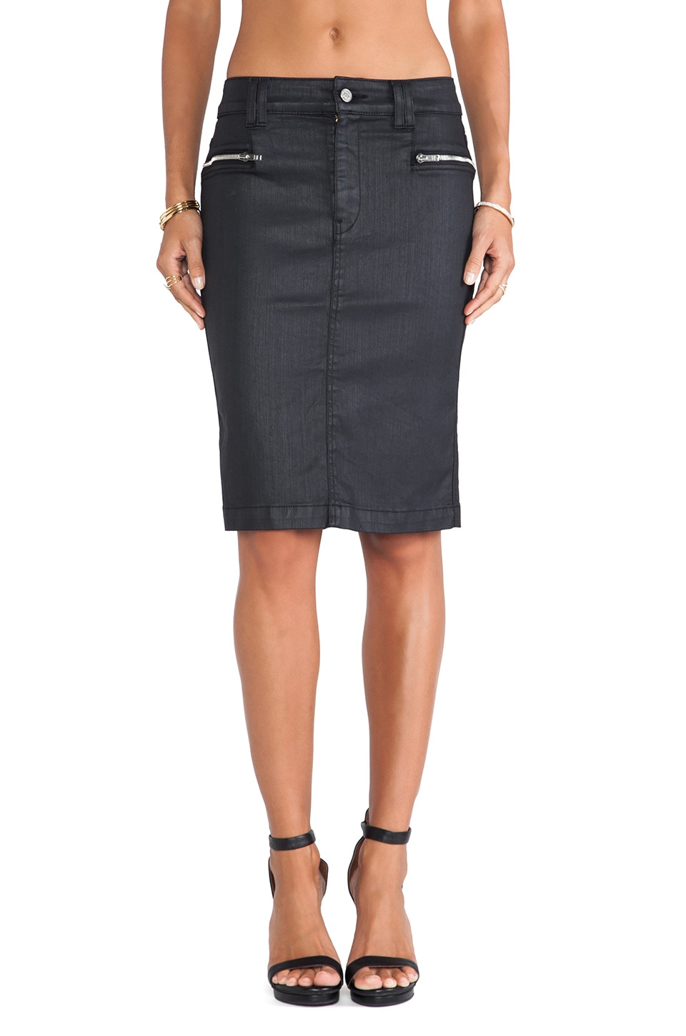 7 For All Mankind Fashion HW Pencil Skirt w/ Zip in Black Jeather