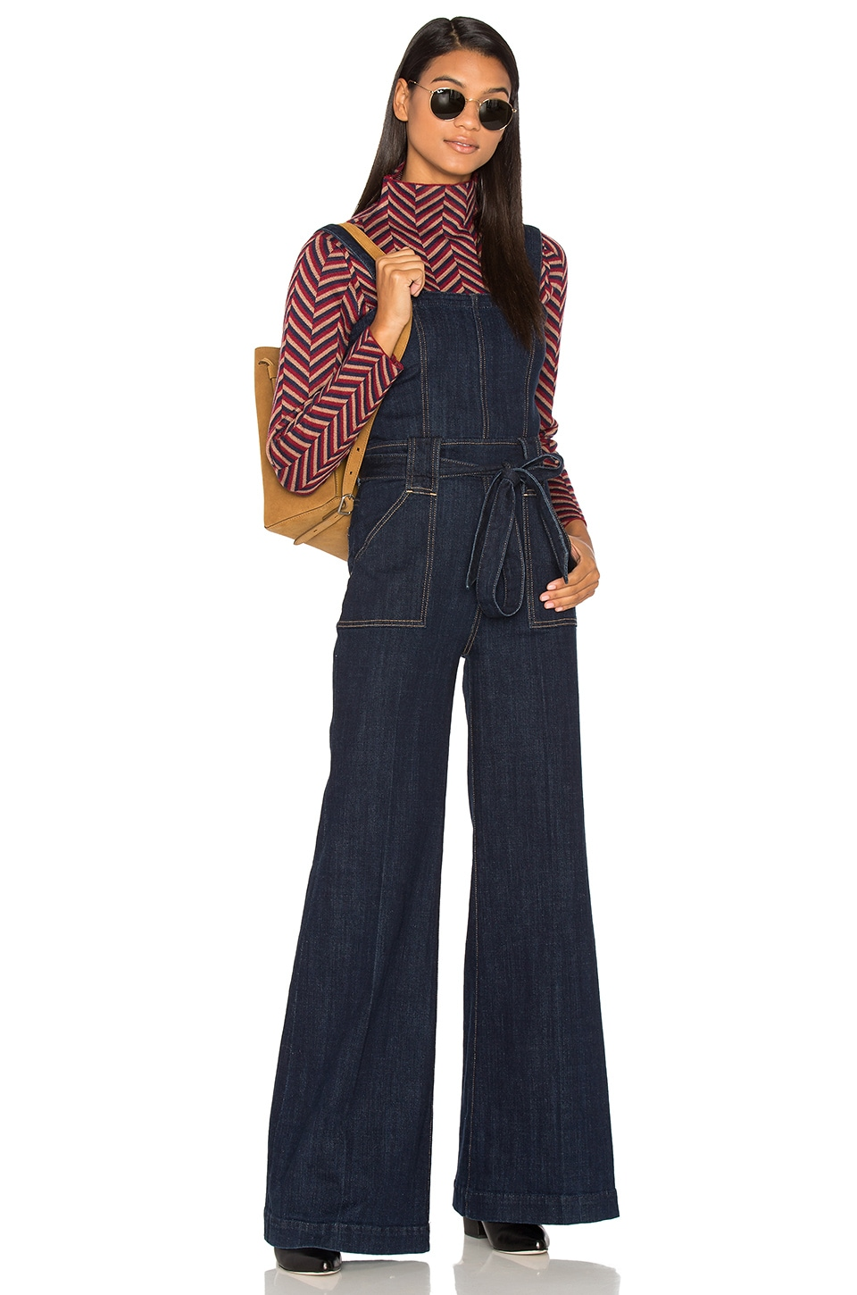 7 For All Mankind Palazzo Jumpsuit in Dark Sky Broken Twill