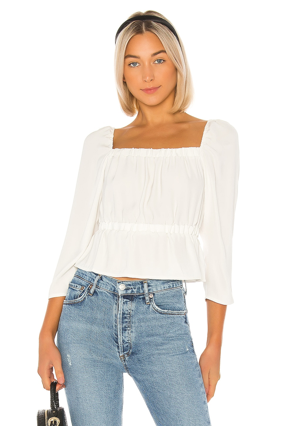 7 For All Mankind Square Neck Elastic Waist Top in Chalk