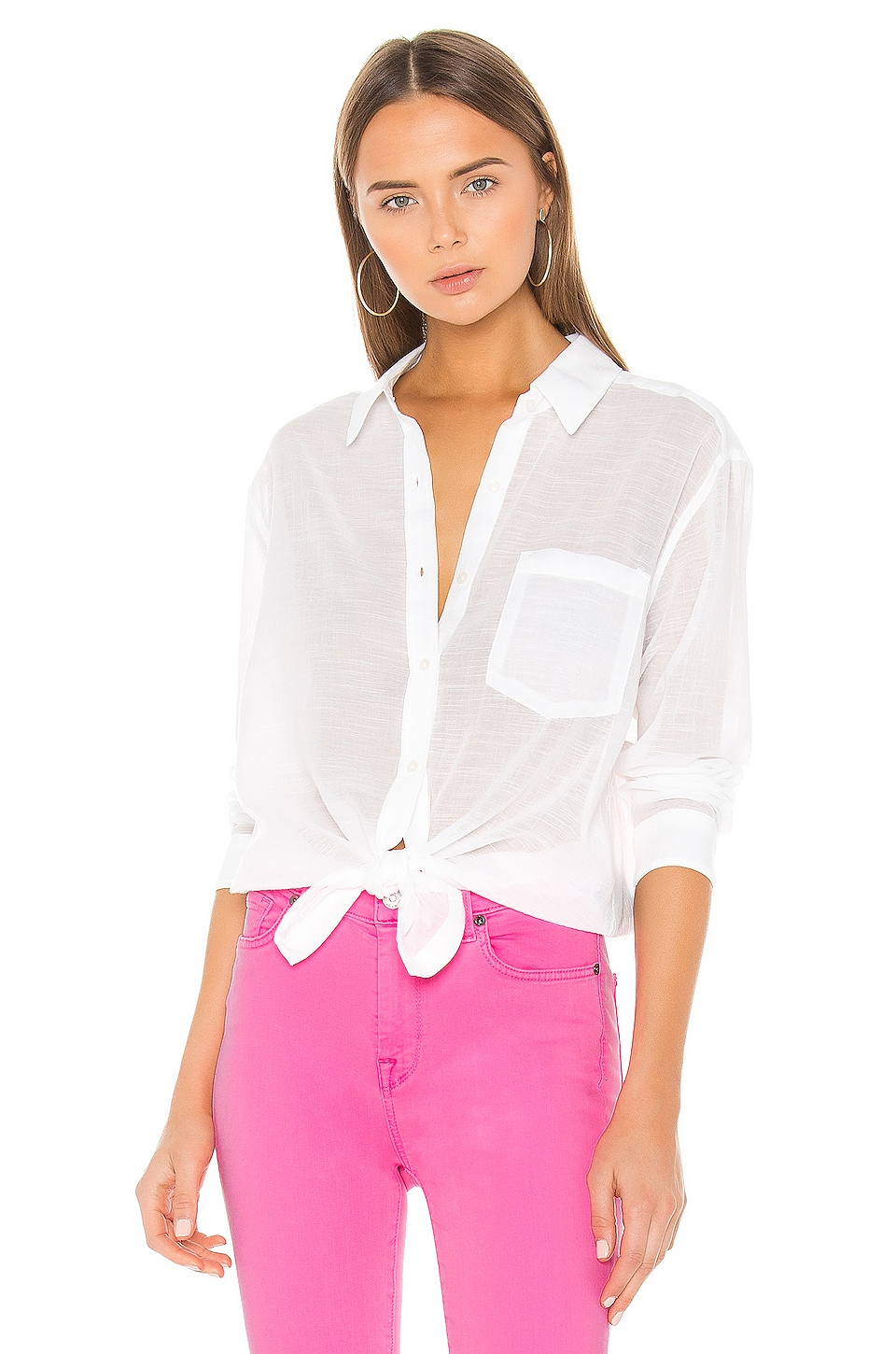 7 For All Mankind High Low Tie Shirt in Soft White