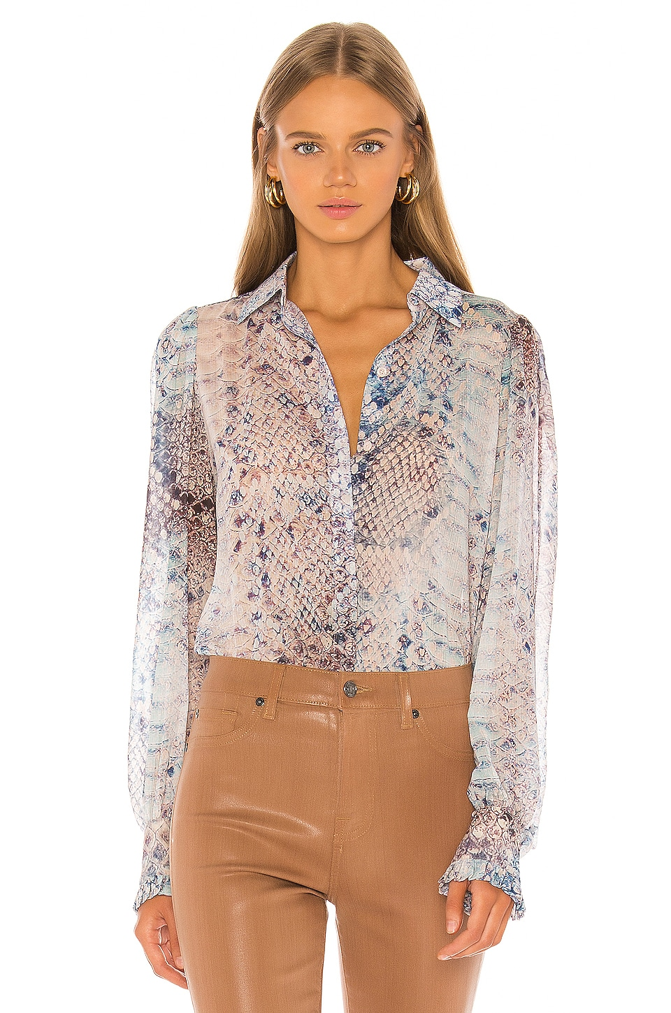 7 For All Mankind Ruffle Cuff Button Up Top in Pink Snake