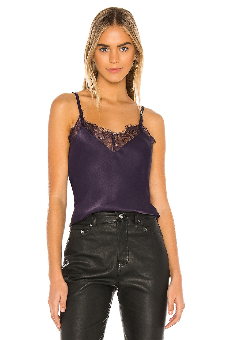 7 For All Mankind Lace Trim Cami in Royal Purple