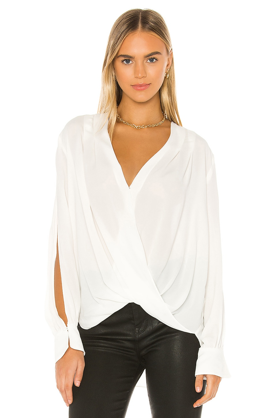 7 For All Mankind Drape Front V Neck Top in Soft White