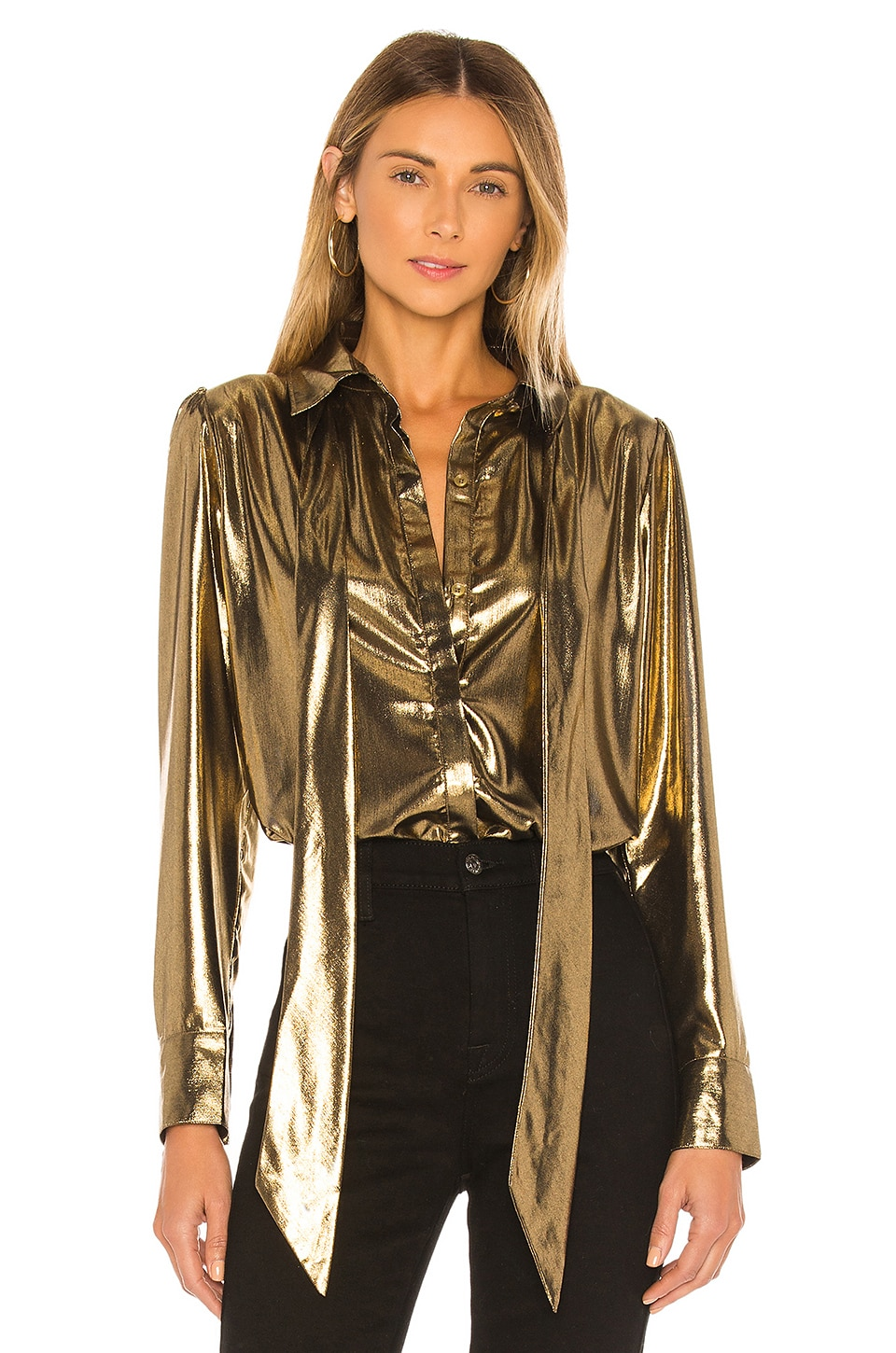 7 For All Mankind Foil Satin Blouse with Neck Tie Top in Liquid Gold