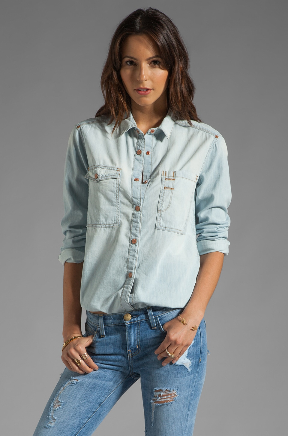 7 For All Mankind Classic Denim Shirt in Light Indigo