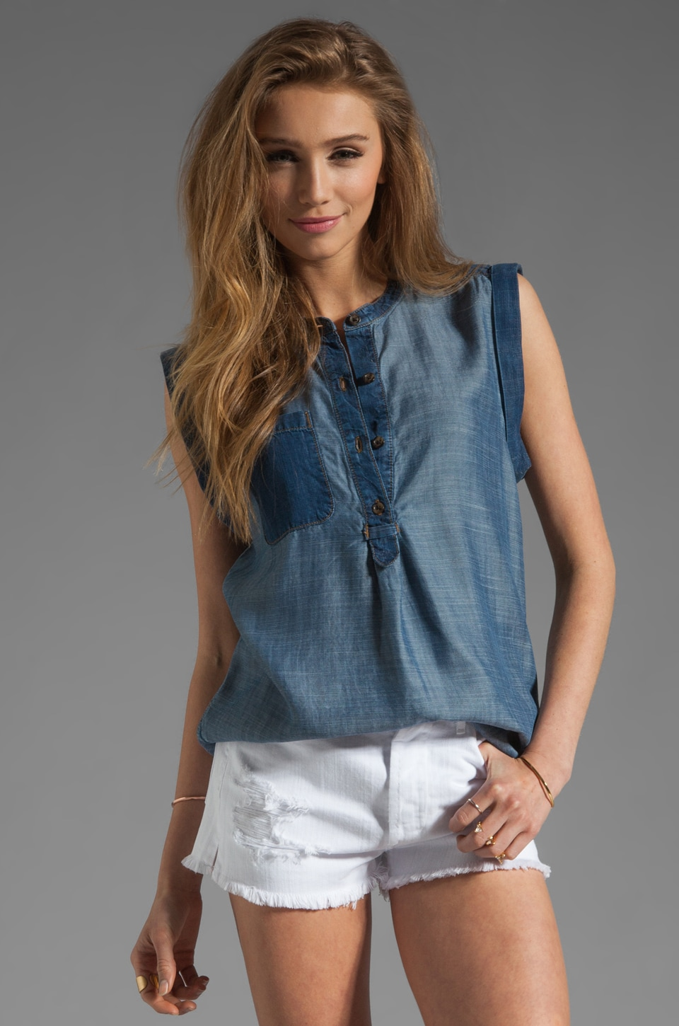 7 For All Mankind Colorblocked Sleeveless Denim Henley in Indigo