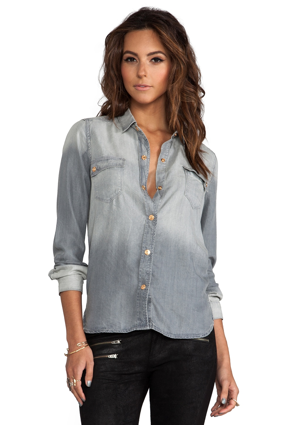 7 For All Mankind Flap Pocket Denim Shirt in Grey
