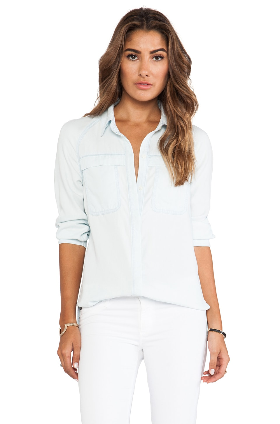 7 For All Mankind Raglan Patch Pocket Shirt in Clear Aquamarine