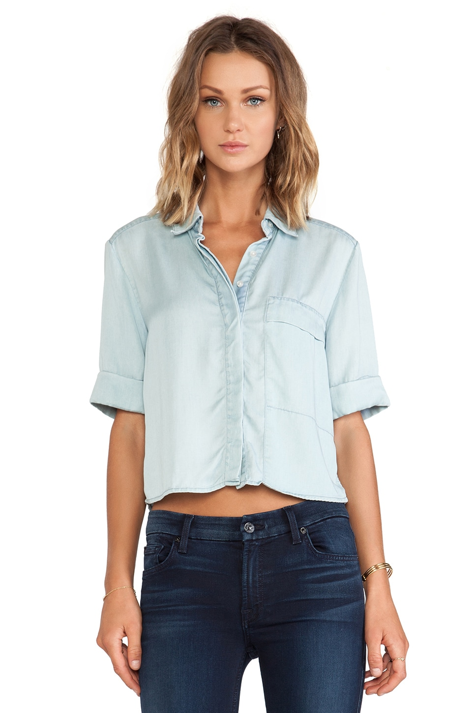 7 For All Mankind Shirt w/ Pocket in Dusty Light Blue