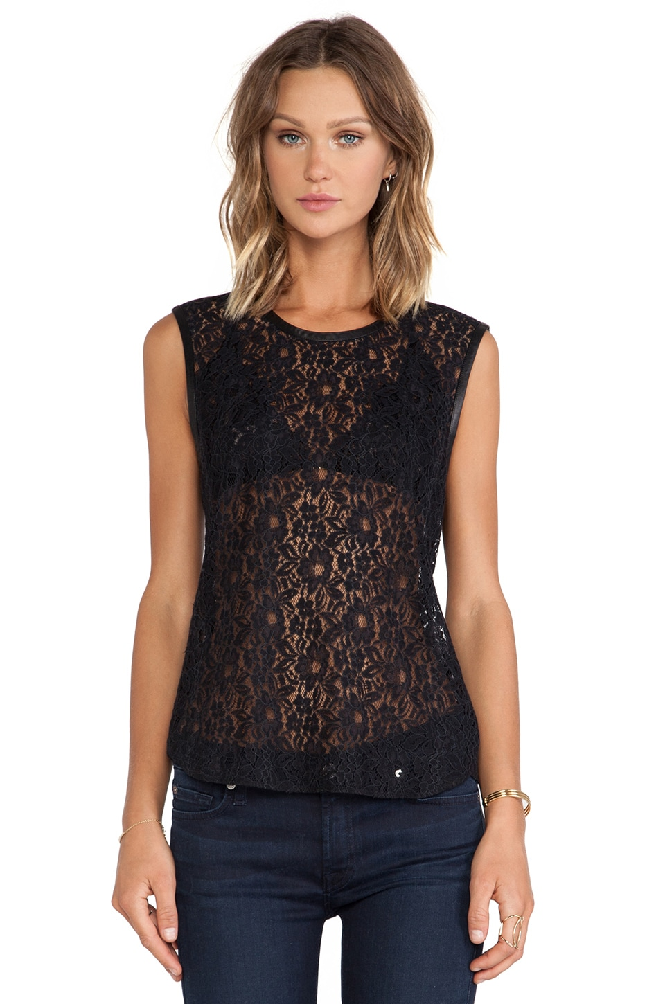 7 For All Mankind Lace Shell w/ Leather Trim in Black