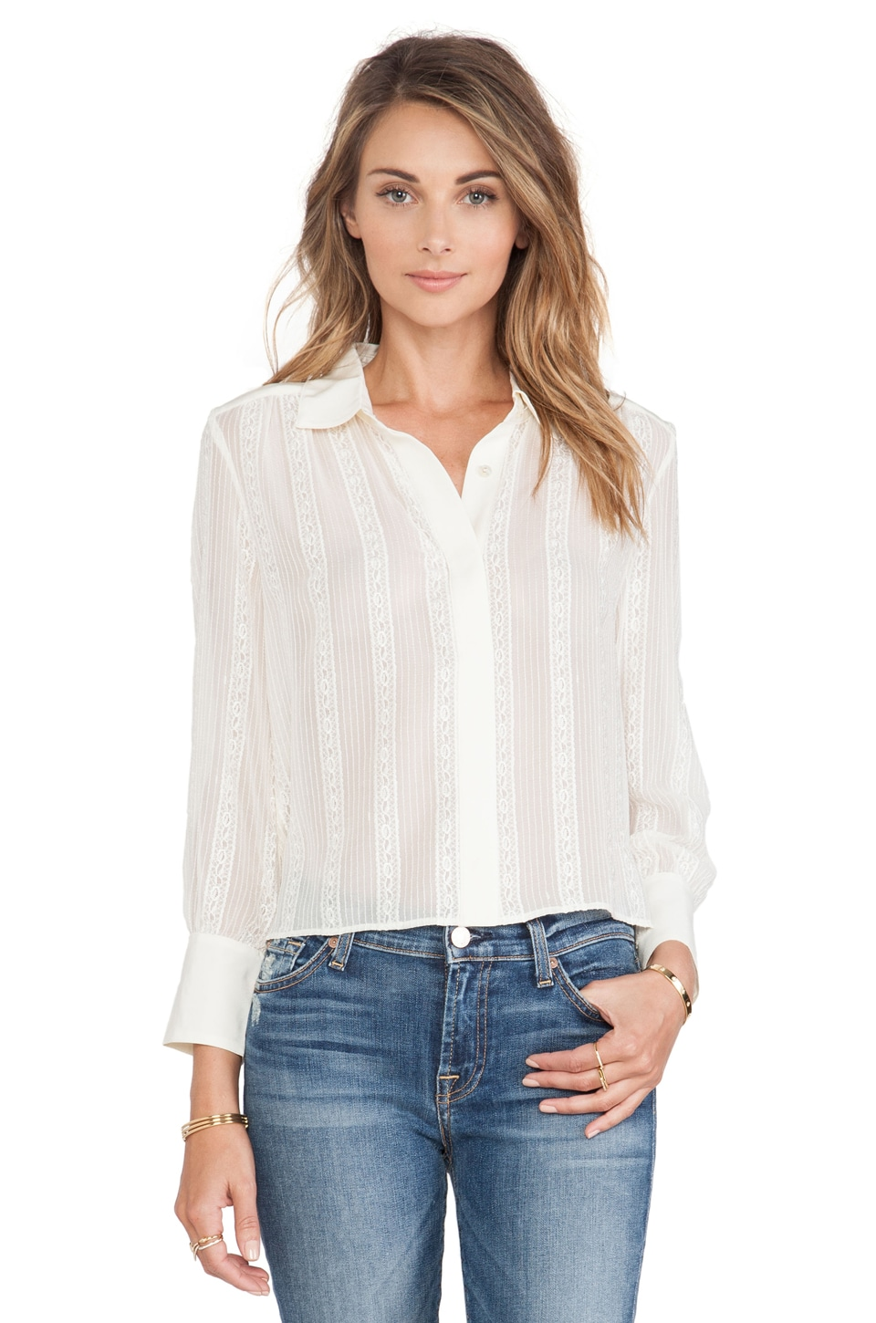 7 For All Mankind Shirred Lace Cropped Blouse in Cream