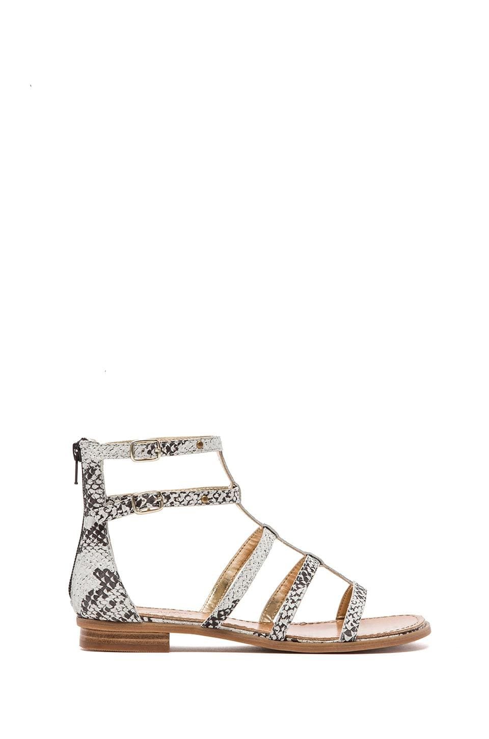 Seychelles Aim High Sandal in Black & White Python