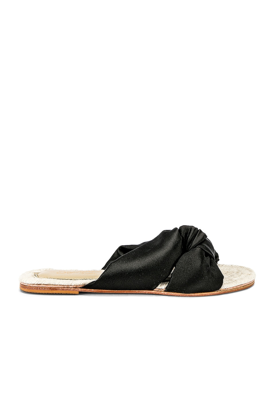 Seychelles Conversation Piece Slide in Black Satin