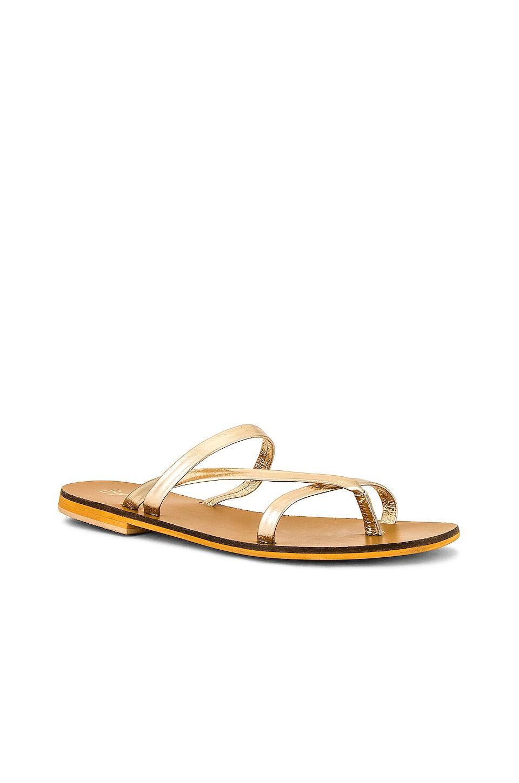 Seychelles Laid-Back Sandal in Light Gold Leather