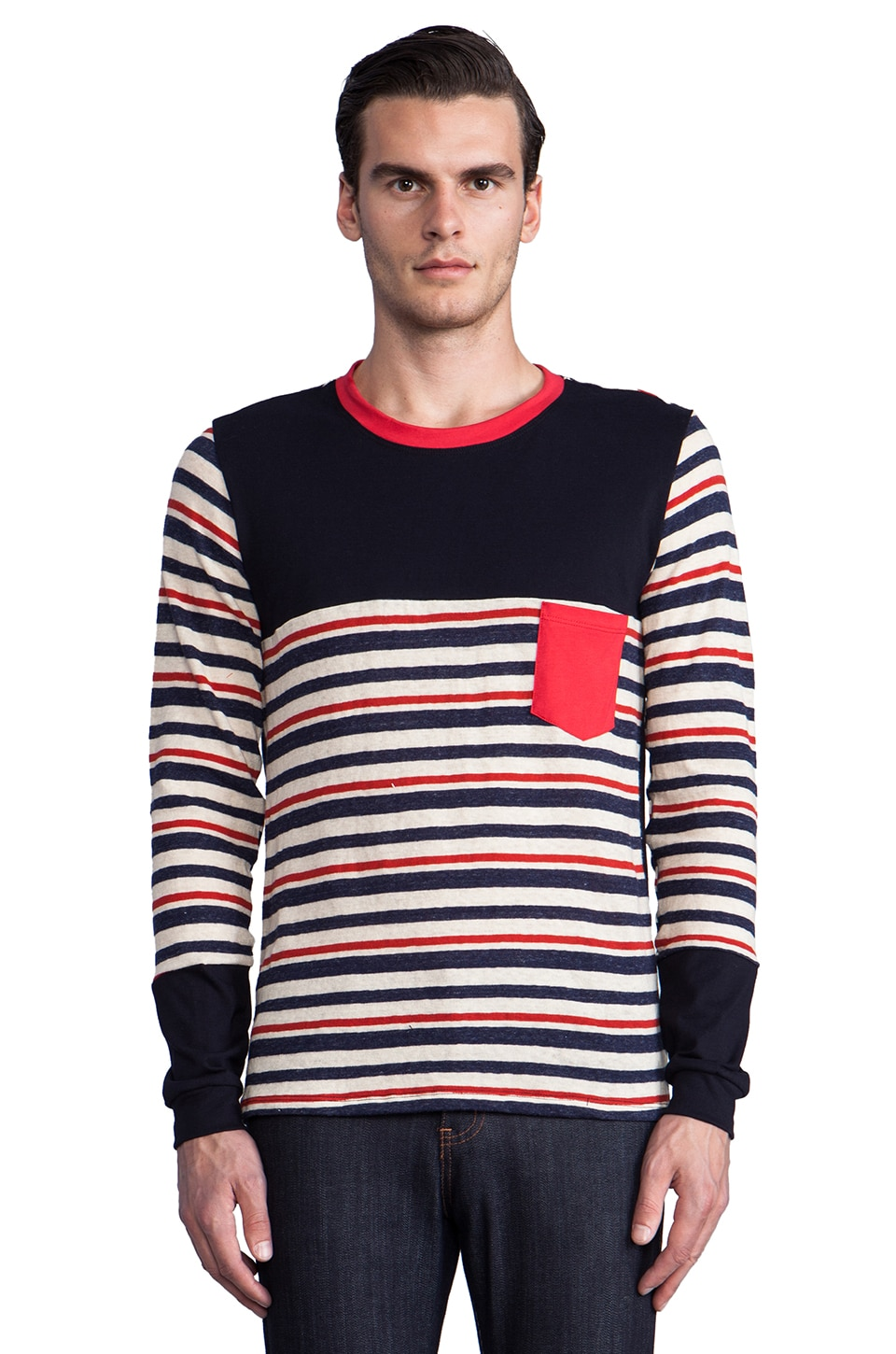 Still Good Theatral LS Tee in Multi Stripe